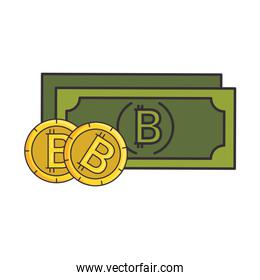 bill and bitcoins virtual money icon