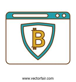 template with shield and bitcoin icon