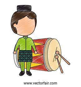 muslim boy with hat and drum