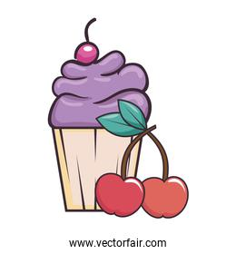 delicious cupcake sticker with cherries