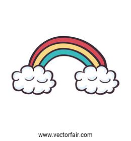 cute rainbown with clouds sticker
