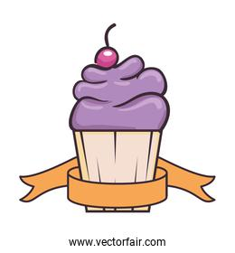 delicious cupcake sticker  with ribbon