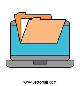 laptop computer with folder