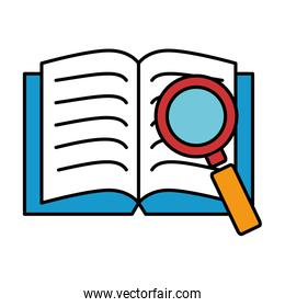 text book with magnifying glass