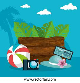 summer vacattions set icons