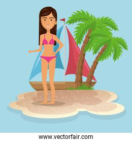 woman character on the beach