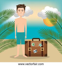 man character on the beach
