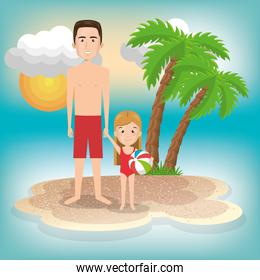 father with daughter on the beach scene