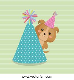 cute dog with hat party kawaii birthday card
