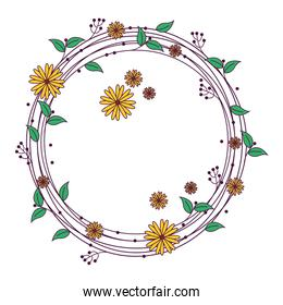 circular frame with flowers decoration