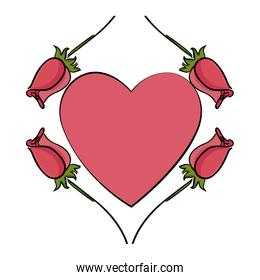 beautiful roses with heart decorative icon