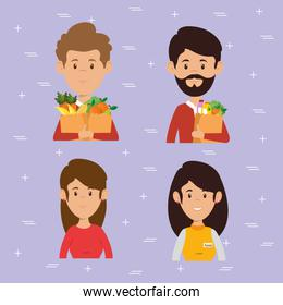 couple with supermarket groceries