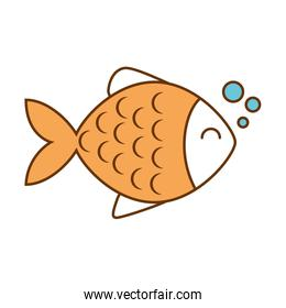 cute fish pet with bubbles character