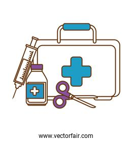 medical kit with scissors and bottle