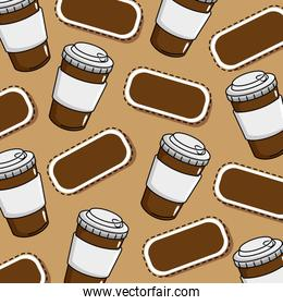 delicious coffee in plastic cup pattern background