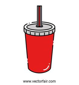 fresh soda in plastic cup with straw