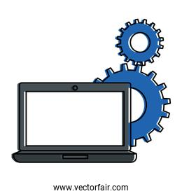 laptop computer with gears