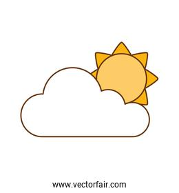 cloud with sun silhouette isolated icon
