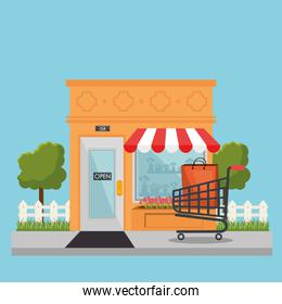 store building front with shopping cart