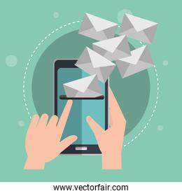 smartphone with emails envelopes