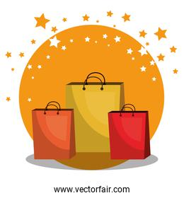 shopping bags with marketing set icons