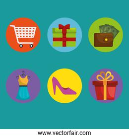 commercial marketing set icons