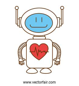 technological robot with heart cardio character icon