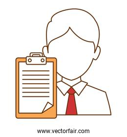 businessman with clipboard isolated icon