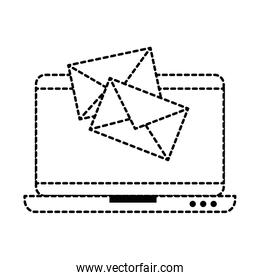 laptop computer with envelopes