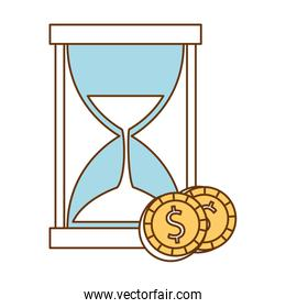 hourglass time with coins money
