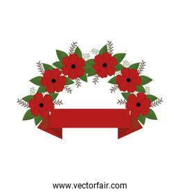 floral wreath crown frame with ribbon
