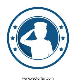 silhouette of soldier saluting emblem