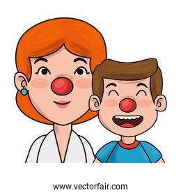 clown mother and boy