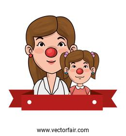 mother clown with girl characters