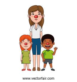 mother clown with son and daughter characters