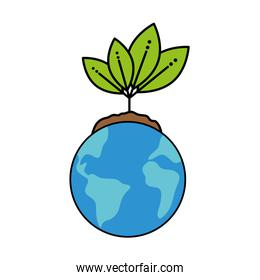 world planet with leafs plant ecology icon