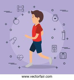 man running with sports set icons