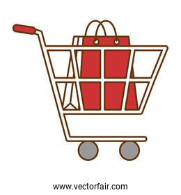 cart with paper shopping bag