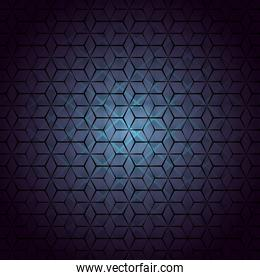 geometric figures with blue background