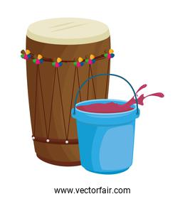 holy drum with color powder in pot