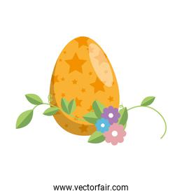painted easter egg with floral decoration