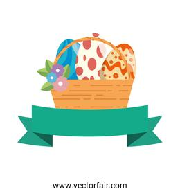 painted easter eggs in basket with ribbon celebration