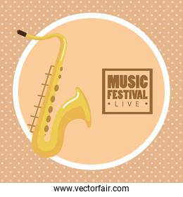 music festival live lettering with saxophone