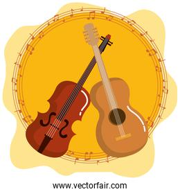music festival live with violin and guitar acoustic