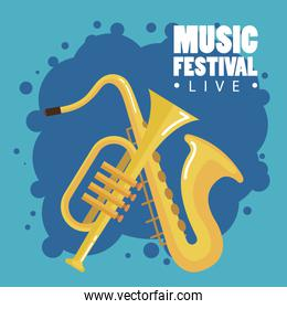 music festival live with saxophone and trumpet