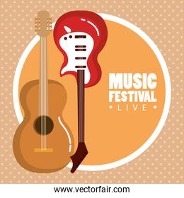 music festival live with electric and acoustic guitars