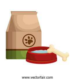 pet shop paper bag with dish and bone