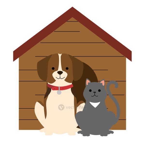 cute dog and cat with wooden house characters