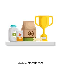 chelf pet shop with products and trophy over white