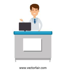 doctor professional in desk with computer avatar character